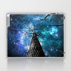 Wintry Trees Galaxy Skies Teal Blue Violet Laptop & iPad Skin
