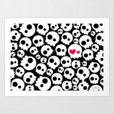 A skull in love Art Print