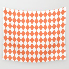 Diamonds (Coral/White) Wall Tapestry