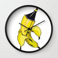 banana Wall Clocks featuring Banana  by Gaby Yerden