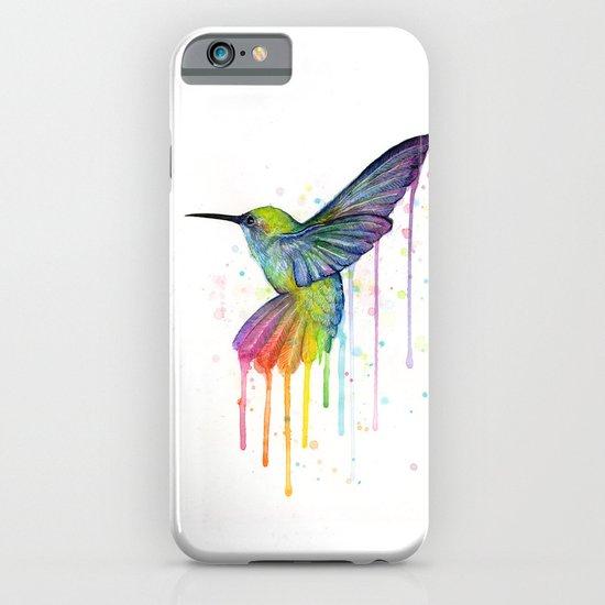 Hummingbird Rainbow Watercolor iPhone & iPod Case