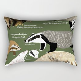 Badgers Meles Genus Poster Rectangular Pillow