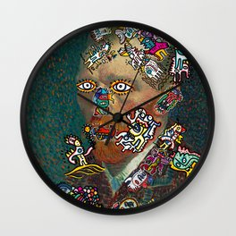 Self Portrait by Vincent Van Gogh  and Graffiti Cool Monsters  Wall Clock