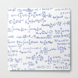 Blue Math Equations Metal Print