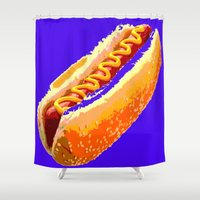 hot dog Shower Curtains featuring Hot Dog by Del Vecchio Art by Aureo Del Vecchio