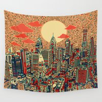 philadelphia Wall Tapestries featuring philadelphia by Bekim ART