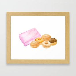 Watercolor donuts and gift box Framed Art Print