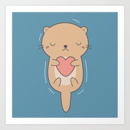 Kawaii Cute Otter Art Print