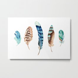 Blue Feather 2 Metal Print