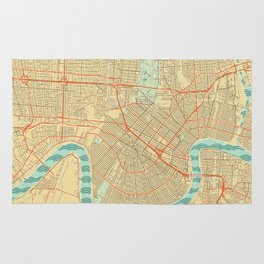 New Orleans Map Retro Rug