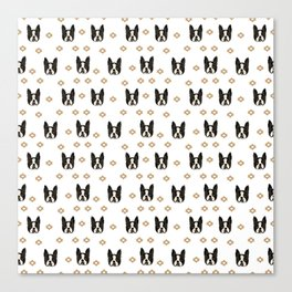 Boston Terrier head cute pet pattern dog breed gifts boston terrier lovers black and white Canvas Print