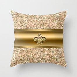Pink & Gold Glitter Fleur De Lis Throw Pillow