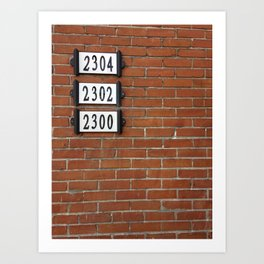 Addresses on a Brick Wall in Montreal Art Print