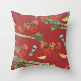 cocktail recipe pattern_ bloody mary Throw Pillow