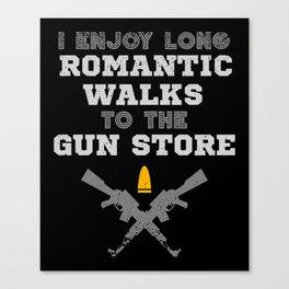 Romantic Walks To The Gun Store Canvas Print