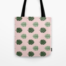 Tropical leaves Monstera deliciosa green and pink #monstera #tropical #leaves #floral #homedecor Tote Bag