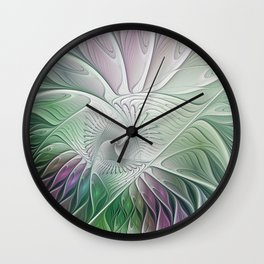 Colorful Fantasy Flower, Abstract Fractal Art Wall Clock
