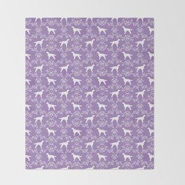 Irish Setter floral dog breed silhouette minimal pattern purple and white dogs silhouettes Throw Blanket