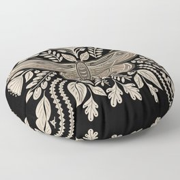 Moth Floral | Black & Brown Floor Pillow