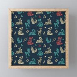 Cute Whimsical Forest Animals Pattern Framed Mini Art Print