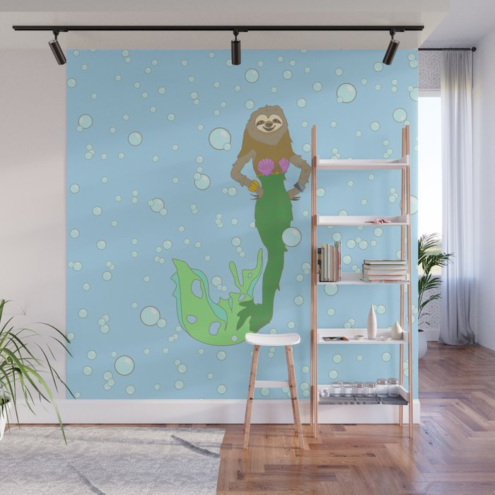 Sloth Mermaid Wall Mural