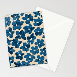 Deep Blue Flowers Stationery Cards
