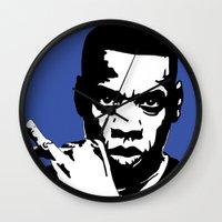 jay z Wall Clocks featuring Jay Z by Gary Barling