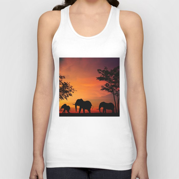 Elephants in the African sunset Unisex Tanktop