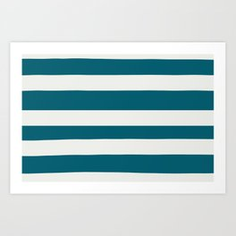 Off White and Tropical Dark Teal Inspired by Sherwin Williams 2020 Trending Color Oceanside SW6496 Hand Drawn Fat Horizontal Line Pattern Art Print