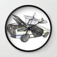 delorean Wall Clocks featuring DMC - Delorean by dareba