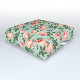 Roses on Turquoise Outdoor Floor Cushion