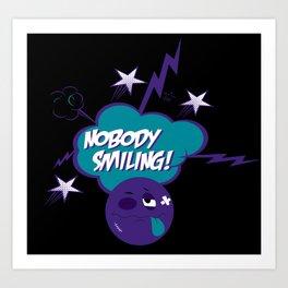 Nobody Smiling Emoji - Grape Art Print