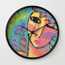 Abstract Portrait of a Woman Wall Clock