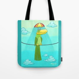 Umbrella Hat Bird Lounging on a Wire! Tote Bag