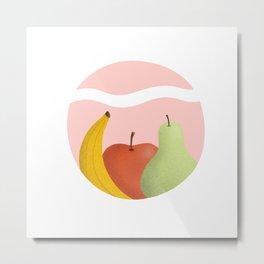 Fruit illustration handdrawn digital banana apple pear Metal Print