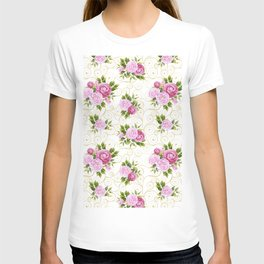 Elegant pink lavender green watercolor floral swirls pattern T-shirt