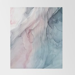 Calming Pastel Flow- Blush, grey and blue Throw Blanket