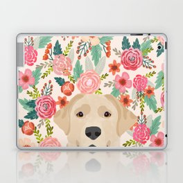 Labrador Retriever yellow lab floral pattern cute florals dog breed pure breed dog lover gifts Laptop & iPad Skin