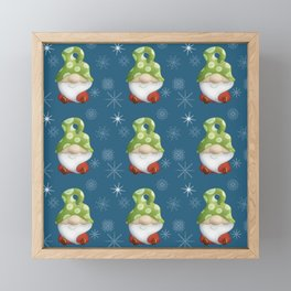 Blue Winter Gnome Pattern Framed Mini Art Print