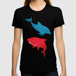 Blue Dolphin and Red Shark Olympic T-shirt