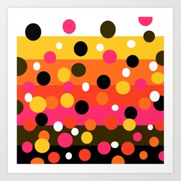 Earth and Summer Sky - Color Strips with Circles Art Print