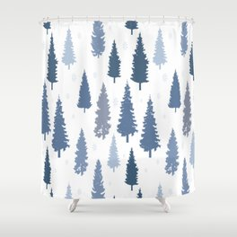 Pines and snowflakes pattern Shower Curtain
