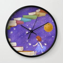 Girl Walking On Books Wall Clock