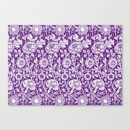 "William Morris Floral Pattern | ""Pink and Rose"" in Purple and White Canvas Print"