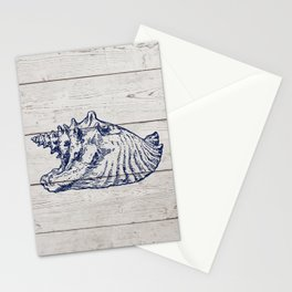 Barnboard Beach Seashells Retro Beach House Design Stationery Cards