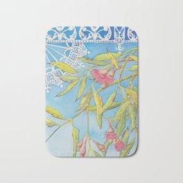 Goldfields Filigree - watercolour of eucalyptus & ironwork Bath Mat