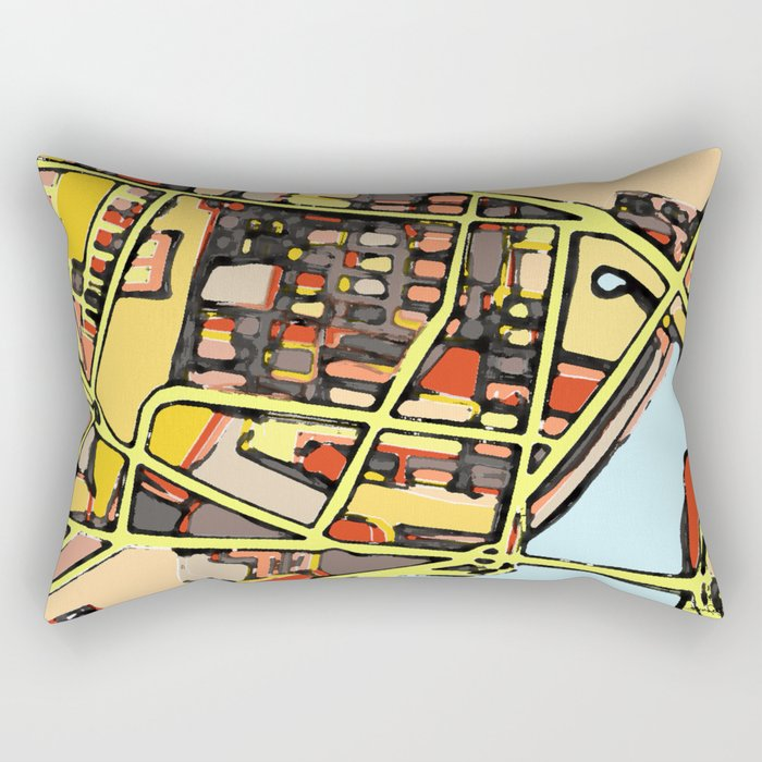 Abstract Map East Cambridge Rectangular Pillow