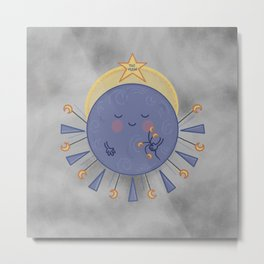 The Moon//Cute Moon Illustration Metal Print