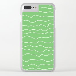 Green with White Squiggly Lines Clear iPhone Case