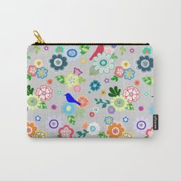 Whimsical Spring Flowers in Grey Carry-All Pouch